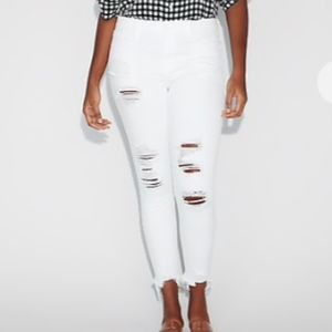 NWT Express Mid Rise Stretch White Rippled Jeans